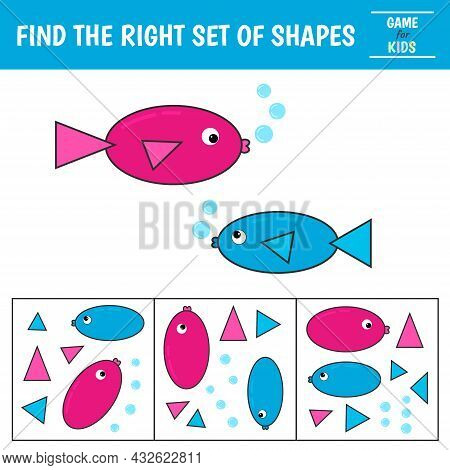 Educational Game For Kids. Geometrical Figure Fish. Find The Correct Block With Geometric Shapes. Pr