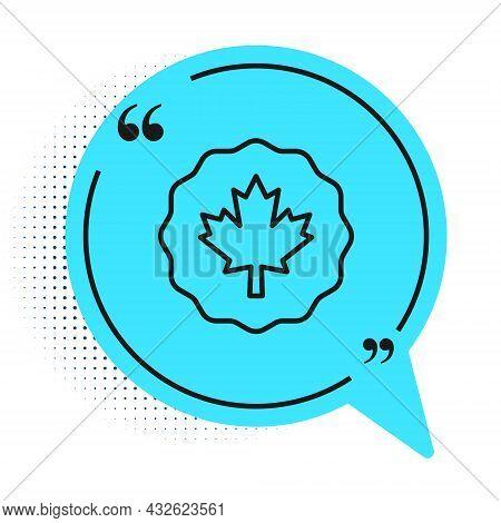 Black Line Canadian Maple Leaf Icon Isolated On White Background. Canada Symbol Maple Leaf. Blue Spe
