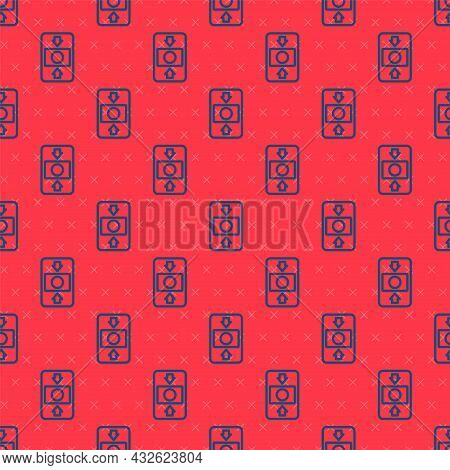 Blue Line Fire Alarm System Icon Isolated Seamless Pattern On Red Background. Pull Danger Fire Safet