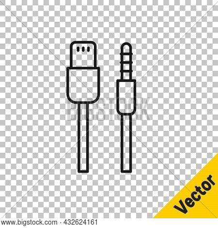Black Line Usb Cable Cord Icon Isolated On Transparent Background. Connectors And Sockets For Pc And