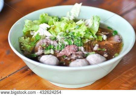 Noodles, Beef Soup Or Beef Noodles Or Chinese Noodles And Rice