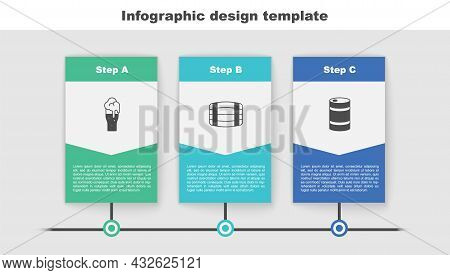 Set Glass Of Beer, Wooden Barrel And Metal Keg. Business Infographic Template. Vector