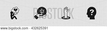 Set Broken Heart Or Divorce, Psychology, Psi, Helping Hand And Head With Question Mark Icon. Vector
