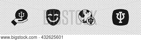 Set Psychology, Psi, Comedy Theatrical Mask, And Icon. Vector