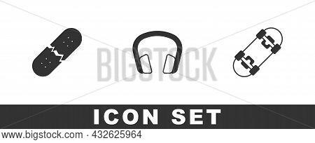 Set Broken Skateboard Deck, Headphones And Skateboard Icon. Vector