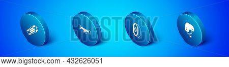 Set Isometric Skateboard Deck, Ball Bearing, Helmet And Wheel Icon. Vector