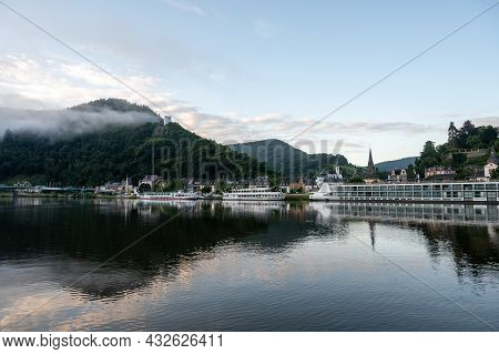 View On Mosel River, Hills With Vineyards And Old Town Traben-trarbach, Germany