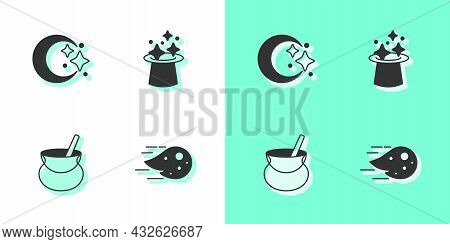 Set Fireball, Moon And Stars, Witch Cauldron And Magic Hat Icon. Vector