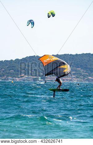 Hyeres, Almanarre Beach, France, July 10, 2021. Extreem Water Sport - Wing Foil, Kite Surfing, Wind