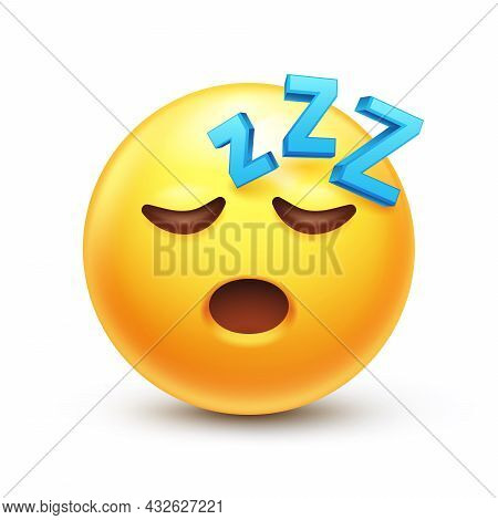 Snoring Emoticon, Zzz Yellow Face With Closed Eyes 3d Stylized Vector Icon