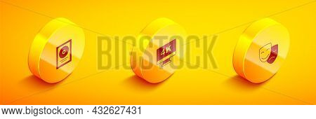 Set Isometric Cd Disk Award In Frame, Screen Tv With 4k And Comedy And Tragedy Masks Icon. Vector
