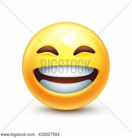 Grinning Emoticon With Radiant Smile. Full-toothed Grin On Happy Yellow Face 3d Stylized Vector Icon