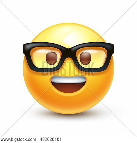 Emoticon With Transparent Glasses, Funny Yellow Face With Black-rimmed Eyeglasses And Open Teeth Smi