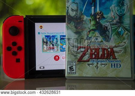 Samut Prakan, Thailand - September 11, 2021 : Nintendo Switch Gaming Console With A Box Of New Game