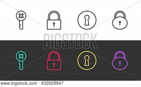 Set Line Wrong Key, Lock, Keyhole And On Black And White. Vector