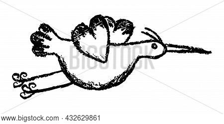 Creative Grunge Linear Drawing Of Flying Stork, Heron Or Crane. Rough Black And White Vector Sketch
