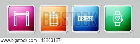 Set Line Horizontal Bar, Punching Bag, Location Gym And Smart Watch. Colorful Square Button. Vector