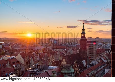 Wroclaw central market square with old colourful houses at evening sunset sunshine. Old Town Square, Wroclaw Poland.