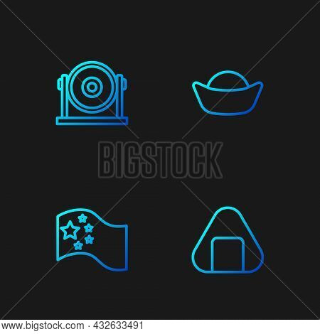 Set Line Sushi, China Flag, Gong And . Gradient Color Icons. Vector