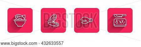 Set Line Served Fish On A Bowl, Mussel, Lobster Or Crab Claw And Cutting Board And Knife With Long S