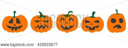 Halloween Pumpkin Vector Set, Emotion Variation. Simple Flat Style Design Elements. Set Of Silhouett