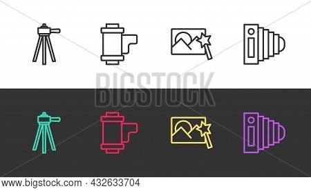 Set Line Tripod, Camera Roll Cartridge, Photo Retouching And Camera On Black And White. Vector