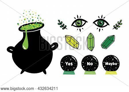 Set, Collection Of Magic, Witchcraft, Spiritual Related Icons. Cauldron With Potion, Crystal Balls,