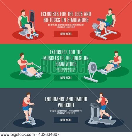 Exercise Machines Set With Legs Chest Buttocks Endurance And Cardio Workout Elements Isolated Vector