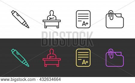 Set Line Marker Pen, Schoolboy Sitting At Desk, Exam Sheet With A Plus Grade And Document Folder Cli