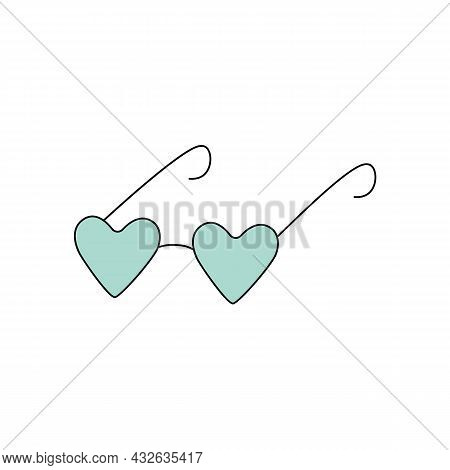 Blue Heart Shaped Eyeglasses. Vector Illustration In Doodle Style Isolated On White Background. Cart