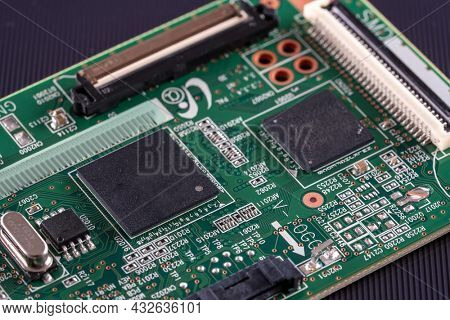 Microcontroller pcb. Close up printed circuit board of an electronic device