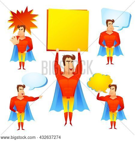 Favorite Fictional Children Superhero Cartoon Character With Speech Bubbles And Blue Cape Icons Set