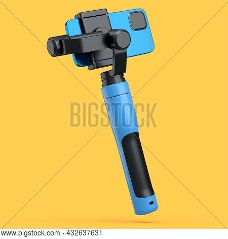 Realistic Smartphone With Selfie Stick Isolated On Orange