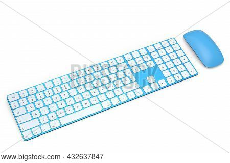 Modern Blue Aluminum Computer Keyboard And Mouse Isolated On White Background.