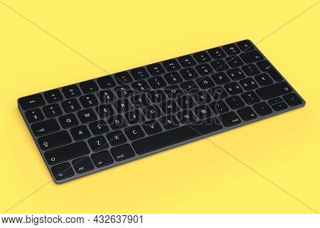 Modern Dark Aluminum Computer Keyboard Isolated On Yellow Background.
