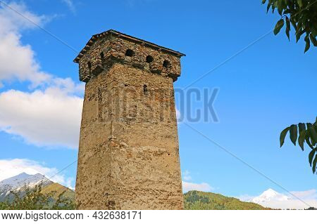 Iconic Medieval Svan Tower, Traditional Fortified Dwelling In Mestia, Svaneti Region, Historical Pla