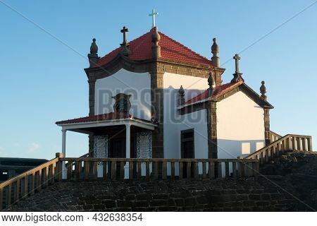Capela Do Senhor Da Pedra Or Lord Of The Rock Chapel At Sunset, Miramar, Portugal