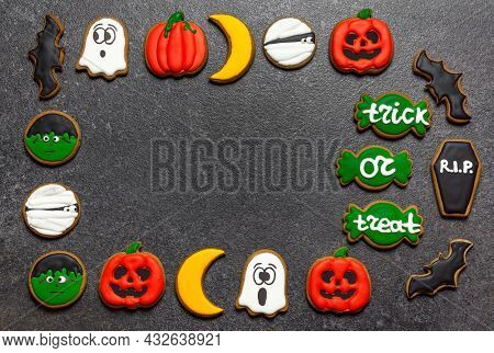 Gingerbread Halloween Copy Space Centered Bright Gingerbread On A Dark Stone Background Pumpkin Ghos