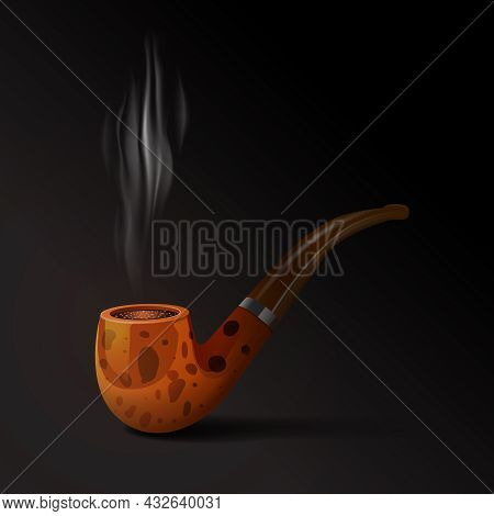 Realistic Old Style Smoking Tobacco Pipe On Black Background Vector Illustration