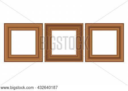 Big Set Of Squared Golden Vintage Wooden Frame For Your Design. Vintage Cover. Place For Text. Vinta