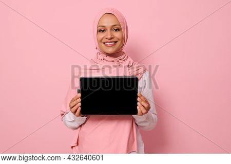 Arab Muslim Beautiful Woman Wearing Pink Hijab, Smiling Toothy Smile Looking At Camera, Standing Aga