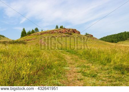 Landscape With A Narrow Path Among The Summer Green Steppe Leading To The Top Of A Hill With Sulek P