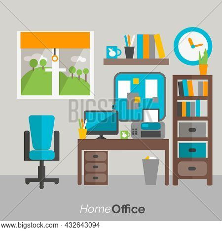 Home Office  Furniture Shelves And Drawers Bookcase And  Computer Desk Comfy Chair Poster Flat Abstr