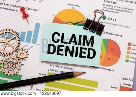 Word Writing Text Claim Denied. Business Concept For Requested Reimbursement Payment For Bill Has Be