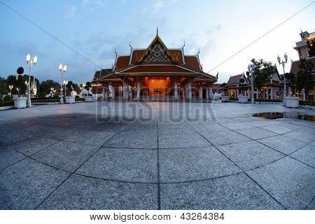 Buddhist Marble Temple (Benchamabophit) at twilight, Bangkok, Thailand poster