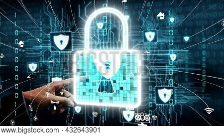 Cyber Security And Digital Data Protection Conceptual . Graphic Interface Showing Secure Firewall Te