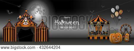 Halloween Banner With Circus, Evil Clown, Carousel, Ferris Wheel And Pumpkins. Horror Luna Park