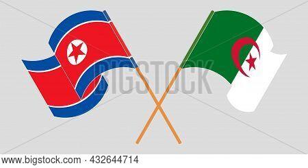 Crossed Flags Of Algeria And North Korea