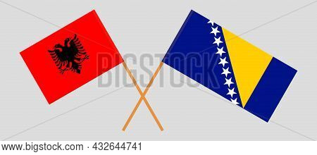 Crossed Flags Of Bosnia And Herzegovina And Albania