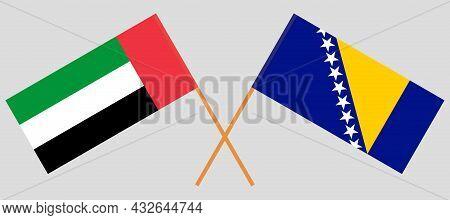 Crossed Flags Of Bosnia And Herzegovina And United Arab Emirates